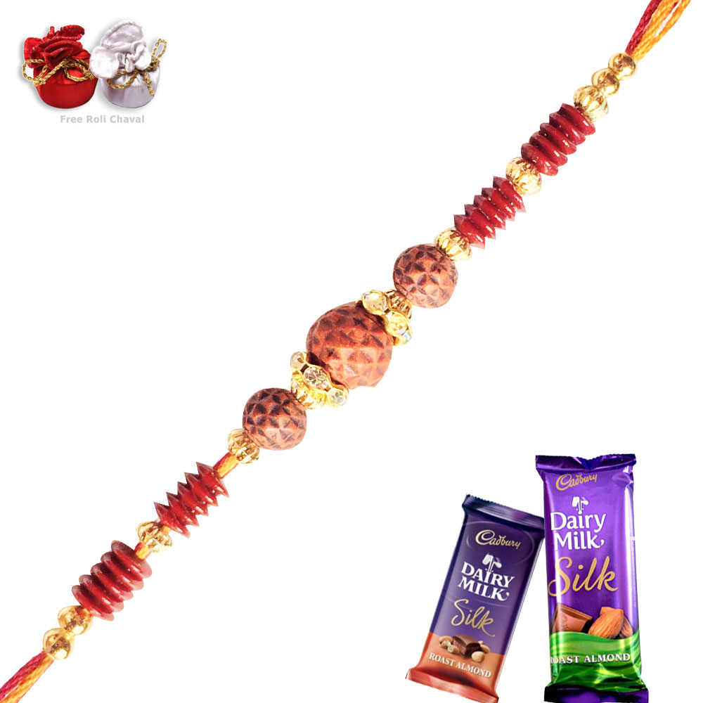 -Rudraksh Rakhi with Chocolate,Send Rakhi online,send rakhi,online send rakhi,rakhi to india,send rakhi to india,rakhi shop india