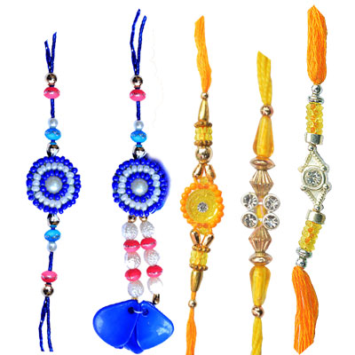Rakhi Set-Unique Yallow Blue Rakhi to Dubai and kuwait,Send Rakhi online,send rakhi,online send rakhi,rakhi to india,send rakhi to india,rakhi shop india