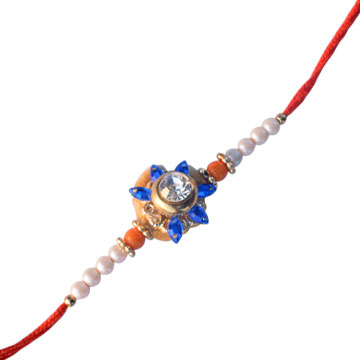Flower Rakhi with Diamond and pearl