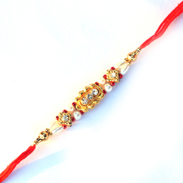 -Gold Look Diamond Pearl Rakhi,Send Rakhi online,send rakhi,online send rakhi,rakhi to india,send rakhi to india,rakhi shop india