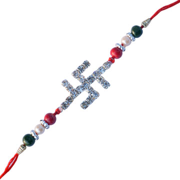 Diamond Rakhi-Swastika Premium Diamond Rakhi,Send Rakhi online,send rakhi,online send rakhi,rakhi to india,send rakhi to india,rakhi shop india