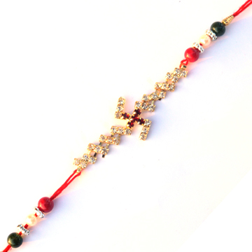 -Stylish Swastika diamond Rakhi ,Send Rakhi online,send rakhi,online send rakhi,rakhi to india,send rakhi to india,rakhi shop india