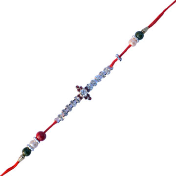 -Dimond Rakhi with red white pearl ,Send Rakhi online,send rakhi,online send rakhi,rakhi to india,send rakhi to india,rakhi shop india