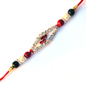 -Dimond Rakhi with red green pearl ,Send Rakhi online,send rakhi,online send rakhi,rakhi to india,send rakhi to india,rakhi shop india