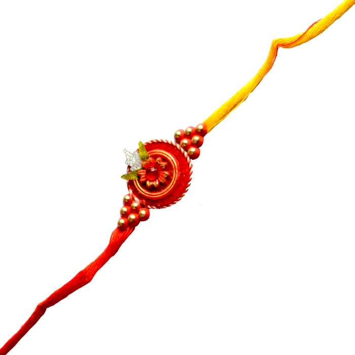 -Flower Design Red Zardozi Rakhi,Send Rakhi online,send rakhi,online send rakhi,rakhi to india,send rakhi to india,rakhi shop india