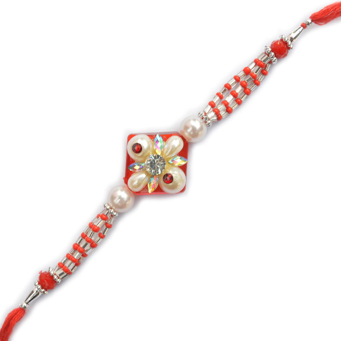 -Flower Design Pearl Rakhi,Send Rakhi online,send rakhi,online send rakhi,rakhi to india,send rakhi to india,rakhi shop india