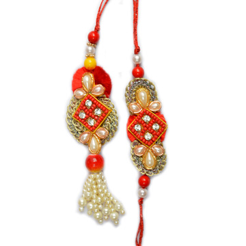 -Handcrafted Royal Pair Rakhi ,Send Rakhi online,send rakhi,online send rakhi,rakhi to india,send rakhi to india,rakhi shop india
